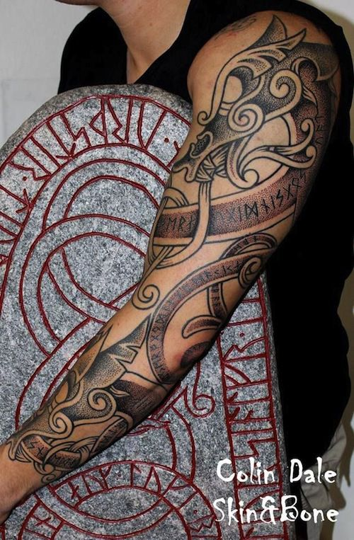 Colin Dale tattooed this sleeve filled with Norse imagery. That;s hot.