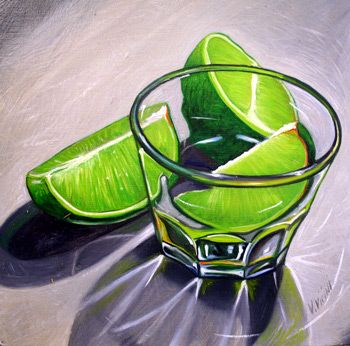 Lime With Glass Still Life.  Painting by Vic Vicini.
