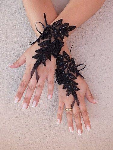 Black gothic lace glove silver frame bridal gloves fingerless gl