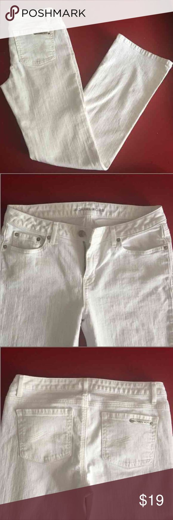 """Michael Kors jeans Michael Kors 'Sausalito' bootcut white denim jeans, sz 8, low rise, inseam 32"""", waist band circumference 30"""", worn twice, retail $79.95 from Macy's  Style # MS29073TK6 KORS Michael Kors Jeans Boot Cut"""