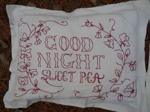 Redwork Embroidery Pattern  -  Good Morning Glory & Good Night Sweet Pea