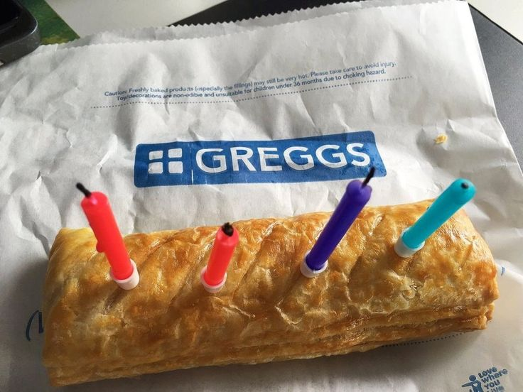 "This national delicacy is so sought after it caused a stampede in Coventry in 2011 (it didn't but it could have done). British people usually eat four Greggs sausage rolls in one sitting. Here is a picture of a Greggs ""birthday cake""."