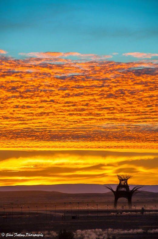 The sun sets over the desert at AfrikaBurn 2014 - Sean Furlong Photography. Karoo, South Africa.