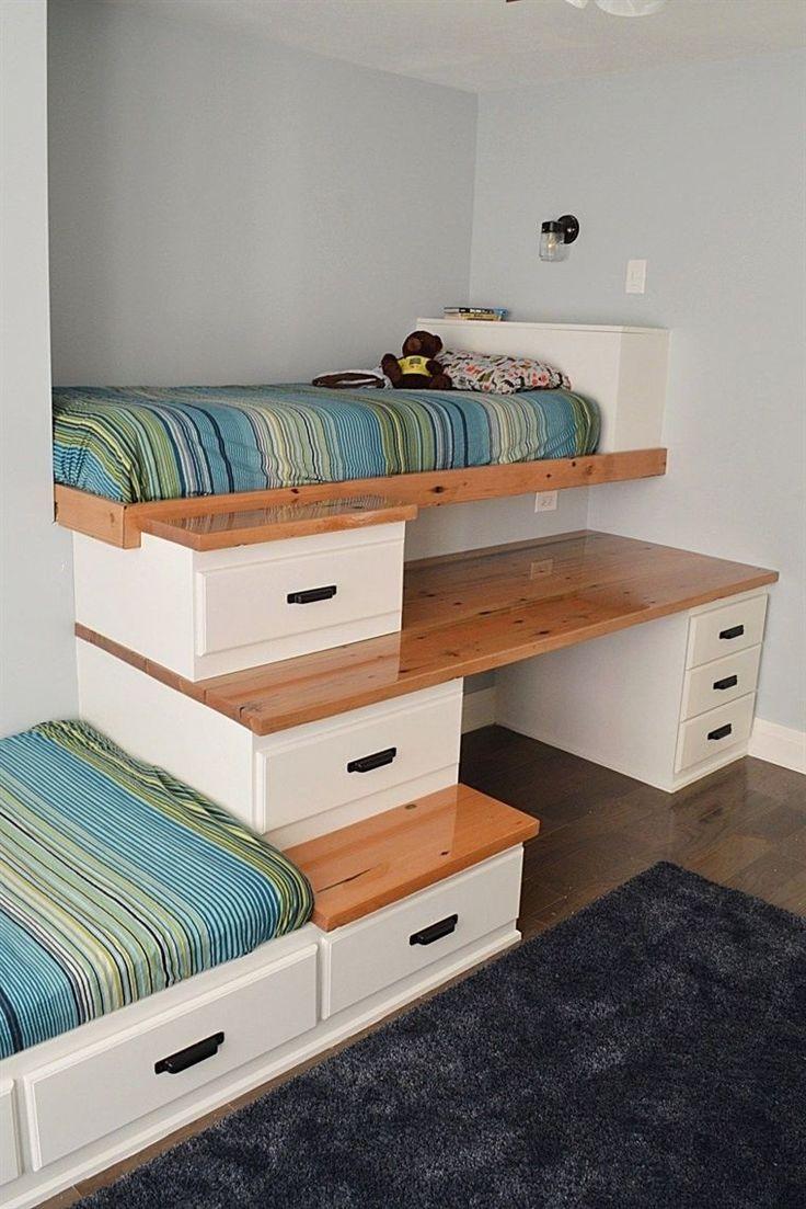 eingebaute Betten für ein gemeinsames Jungenschlafzimmer #Kinderbetten