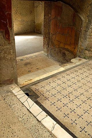 Casa del Bel Cortile, Casa del hermoso patio, sitio arqueológico de Herculano, Pompeya, provincia de Nápoles, región de Campania, sur de Italia, Europa