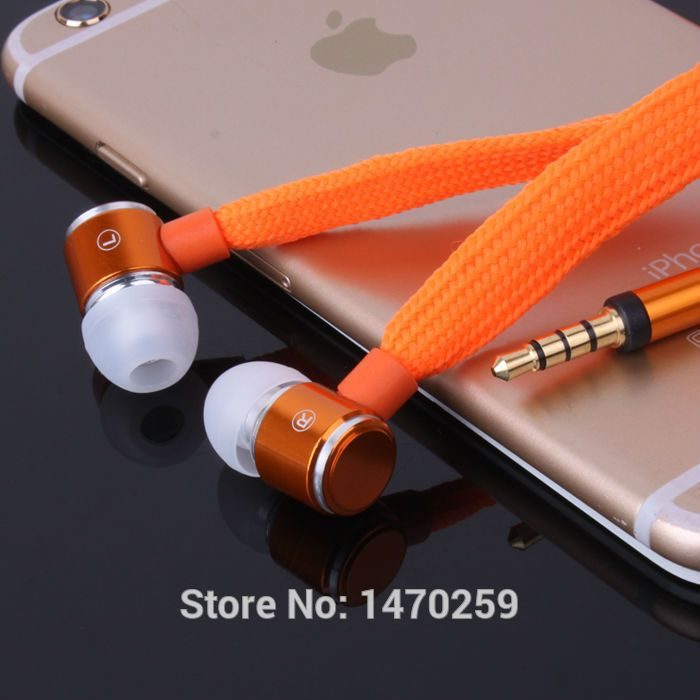 High Quality Metal Earphone Shoelace In Ear Headset handsfree Stereo Headphones with Mic 3.5mm for Mobile Phone iphone xiaomi