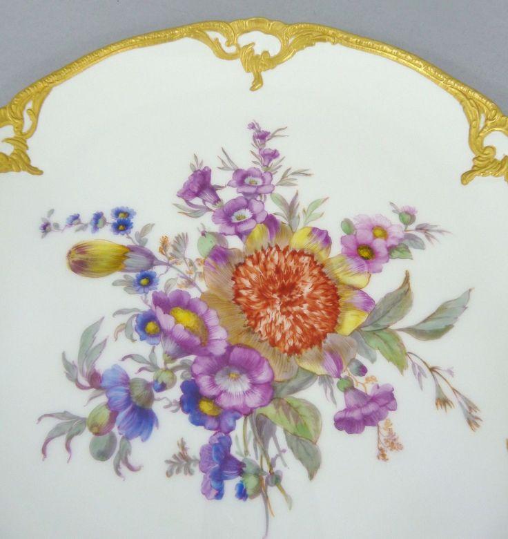 KPM Berlin Zier Teller, reiches Blumenbukett, Form: Neuzierat, D= 22 cm, #2 in Antiquitäten & Kunst, Porzellan & Keramik, Porzellan | eBay