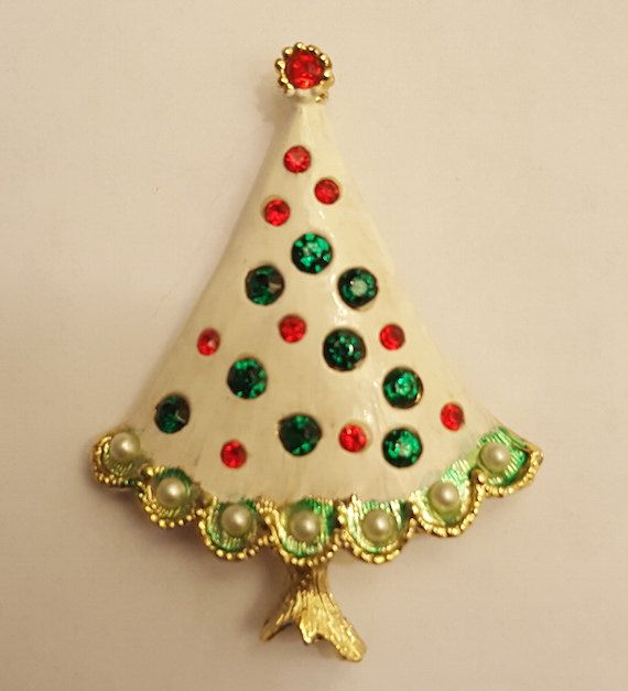 White Christmas Tree Pin Brooch Unsigned Unusual Holiday Christmas Gift for Women by PandorasPurses on Etsy