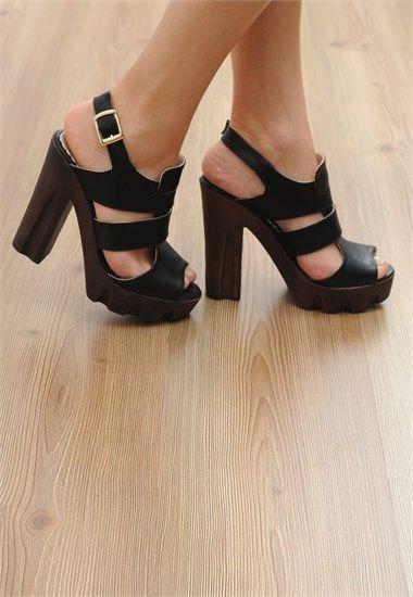Siyah Cilt Platform Topuklu