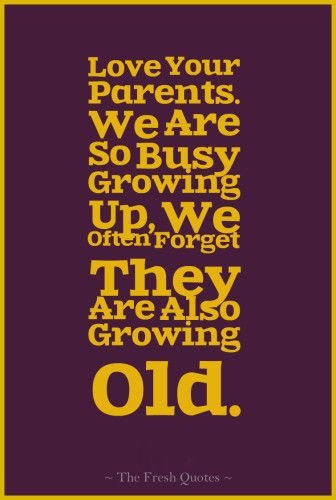 Parents Quotes - Love Your Parents. We Are So Busy Growing Up, We Often Forget They Are Also Growing Old.""