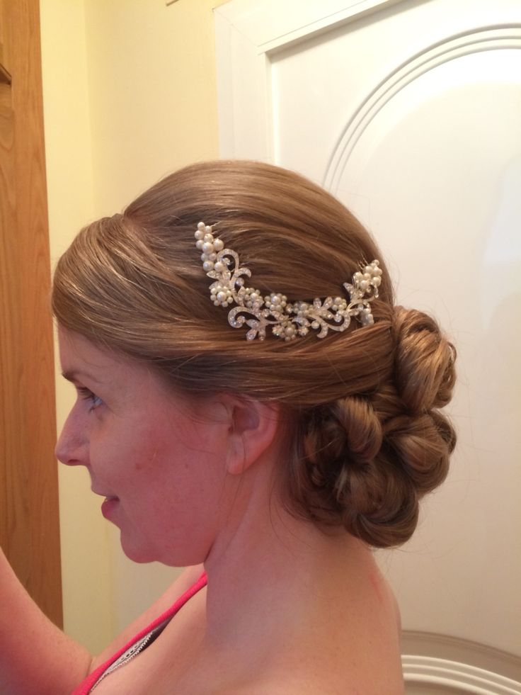 The same soft curls pinned to perfection. Trying out the hair and bridal slide. Hair by Jo black x