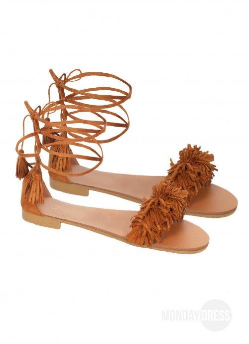 Modern Details Lace Up Sandals   Monday Dress Boutique