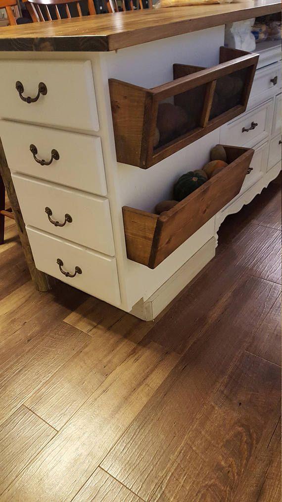 Rustic potato & onion bins, Rustic kitchen storage, Wood ...