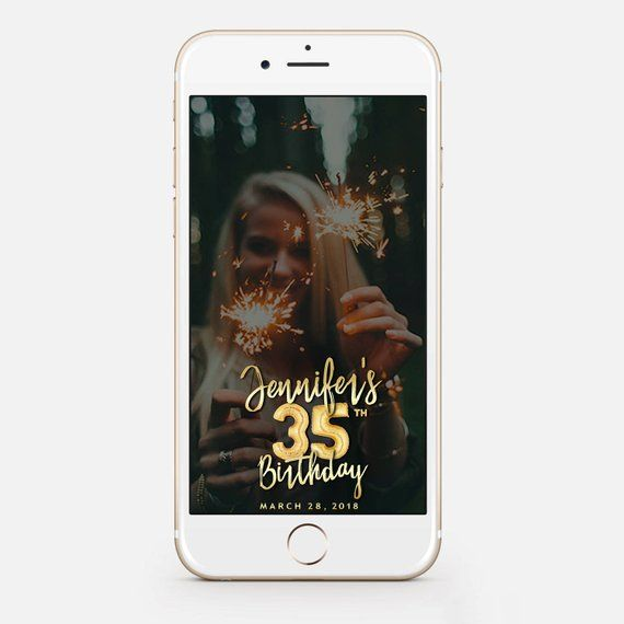 Snapchat Geofilter Birthday 35th Gift For Her Filter Gold Balloons Bir129 By JessicaMichaelPrints