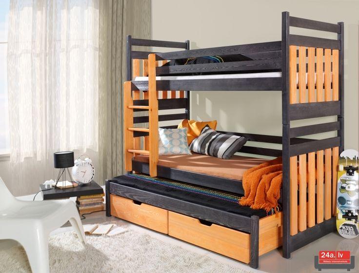 кроват | Двухъярусная Кровать SAMBOR Графит/капри ...