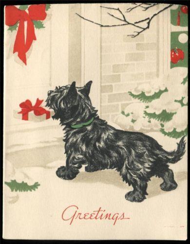 Vintage CHRISTMAS Greeting Card ~ SCOTTY DOG