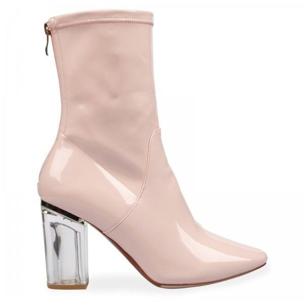Chloe Perspex Heel Pink Ankle Boot ($44) ❤ liked on Polyvore featuring shoes, boots, ankle booties, zipper boots, patent ankle boots, clear-heel boots, pink booties and pointed-toe ankle boots