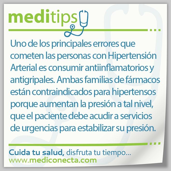 Uno de los principales errores que cometen las personas con Hipertensión Arterial es consumir antiinflamatorios y antigripales.