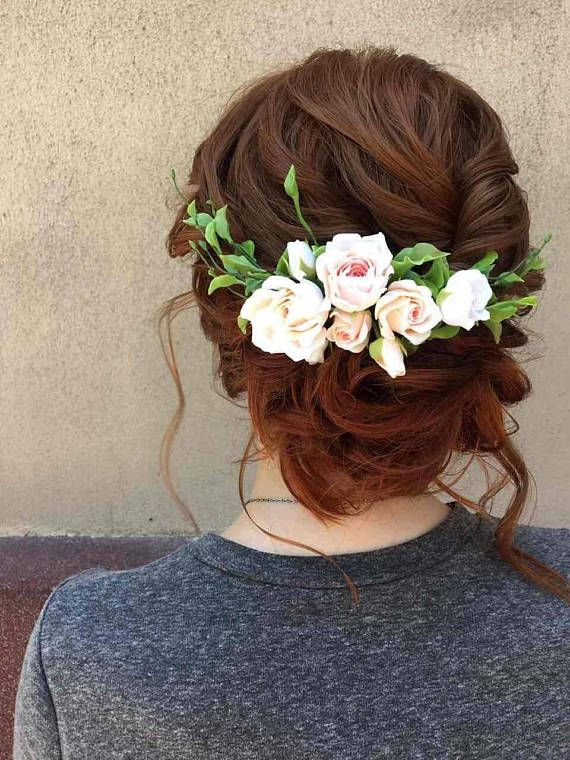 Wedding flower comb Bridal hair piece Hair vine Peach rose Ivory flower Bohemian…