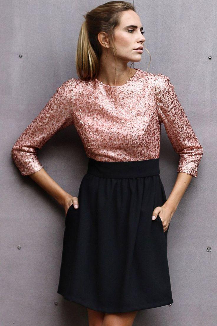 vestido de fiesta de lentejuelas con top rosa y falda negra para bodas eventos coctel fiestas nochevieja de otono invierno de arimoka en apparentia