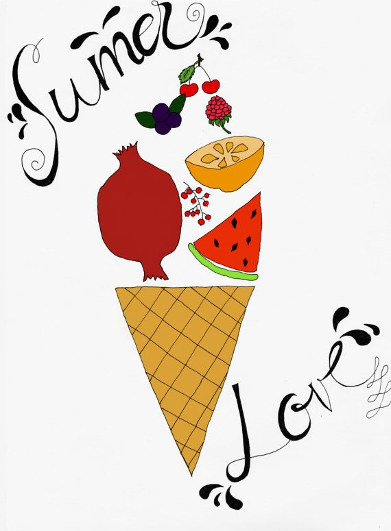 Summer Fruits Illustration Print  Handlettering  by DeliaSopcaArt