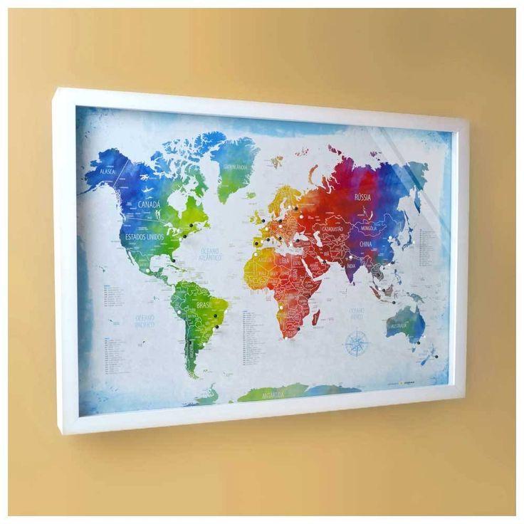 Quadro Mapa-múndi colorido com100 pins-alfinetes para marcar viagem. Vem com tampa de vidro e fácil sistema de abertura. 62,5x45x3,5cm (LxAxP)