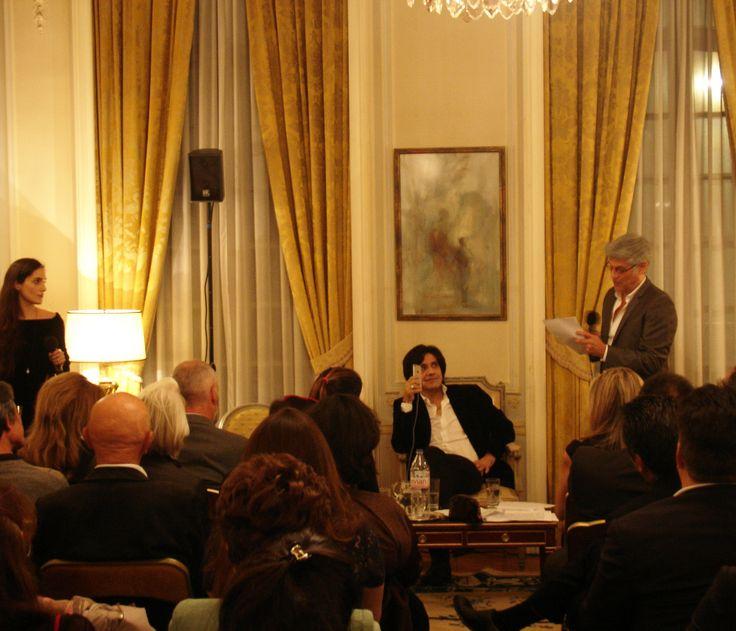"""Presentation du livre """"Bar Flaubert"""" à l'Ambassade de Grèce à Paris (Alexis Stamatis, Georges Corraface, Eva Simatou)"""