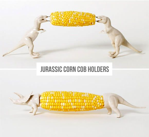 How fun is this?! Jurassic Corn Cob Holders. Available at Digs or make your own!