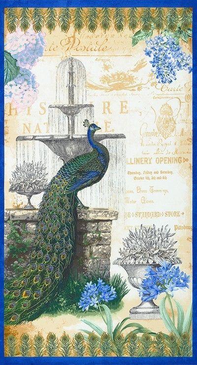 Peacock Elegance 100/% Cotton Quilting Fabric Panel Robert Kaufman