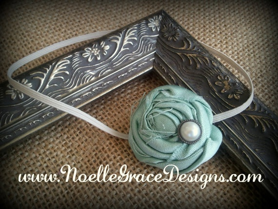 Prettiness for Isla! Mint & Ivory Fabric Flower Headband by NoelleGraceDesigns, Etsy
