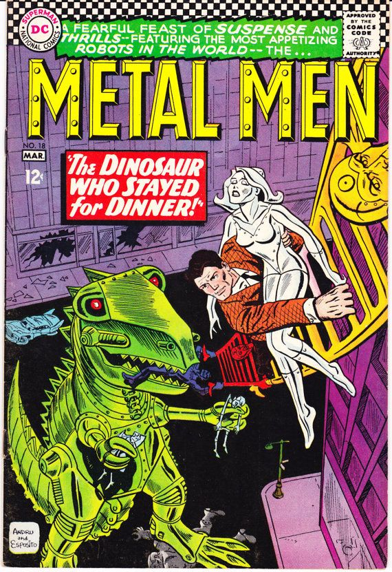 Metal Men 18 DC Comics Dinosaur Esposito Andru Robots Silver Age 1966 VF by LifeofComics #comicbooks