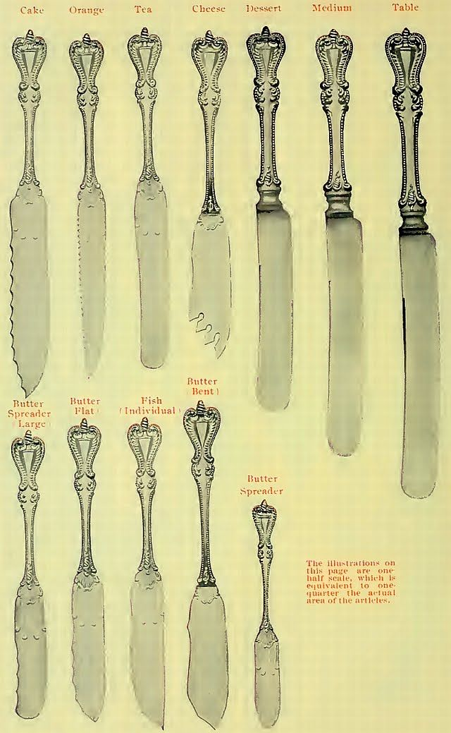 "Illustration of various knives available in old silver patterns.This particular pattern is Towle's ""Old Colonial.""  (925-1000.com)"