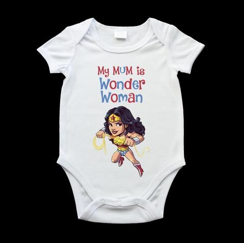 My Mum is Wonder Woman baby onesie, funny baby onesies