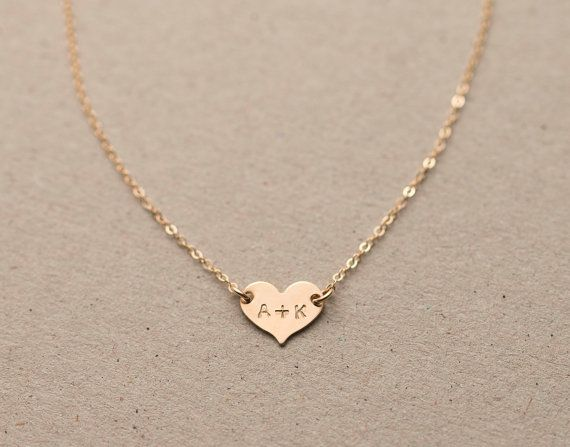 Small Heart Necklace Dainty Personalized 14k by LayeredAndLong