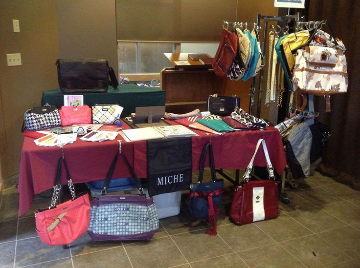 Sammy P. - Here is a pic of my display (the table cloth isn't mine the venue had them out already and I was cleaned out of brochures but you can see how it sits) #miche #michefashion #fashion #style #purses #handbags #accessories