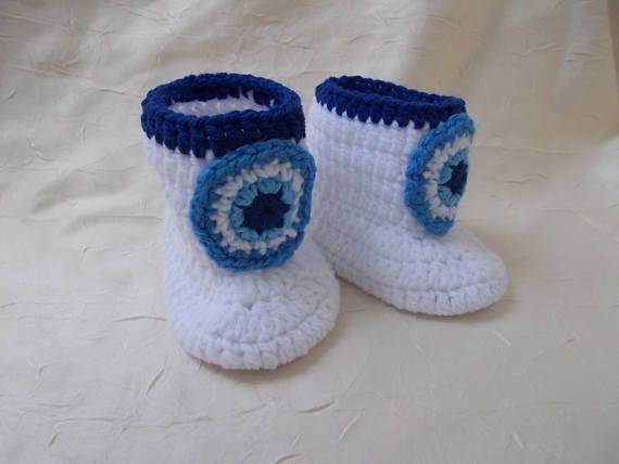 CROCHET PATTERN Baby pattern evil eye Baby Shoes pattern