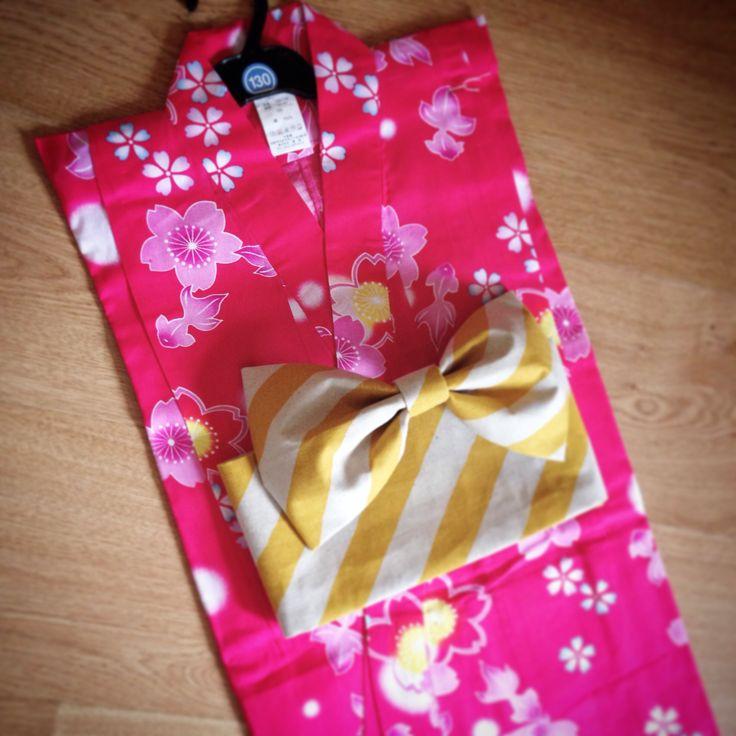 子供浴衣&作り帯set  黄シマシマ 130 (浴衣は日本から取り寄せました)