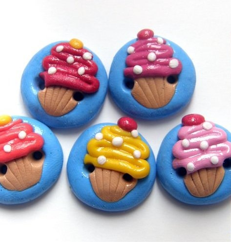 Cupcake Buttons / Polymer Clay buttons by TheCraftyButtonUK, £4.00