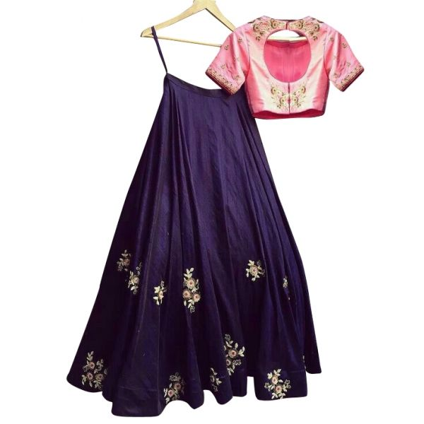 Buy Navy Blue Color Banglori Silk With Embroidery & Diamond Work Semi-Stitched Lehenga Choli Online at cheap prices from Shopkio.com: India`s best online shoping site