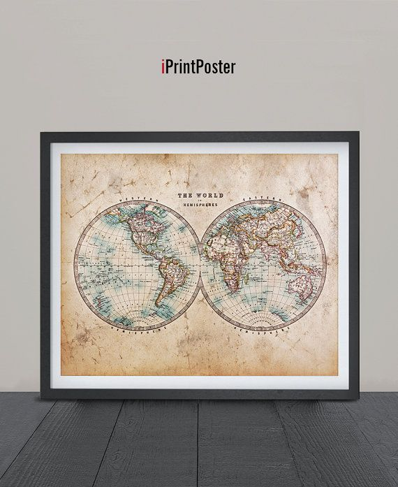 109 best world map posters images on pinterest room wall decor world map vintage map art print grunge vintage art by iprintposter gumiabroncs Gallery