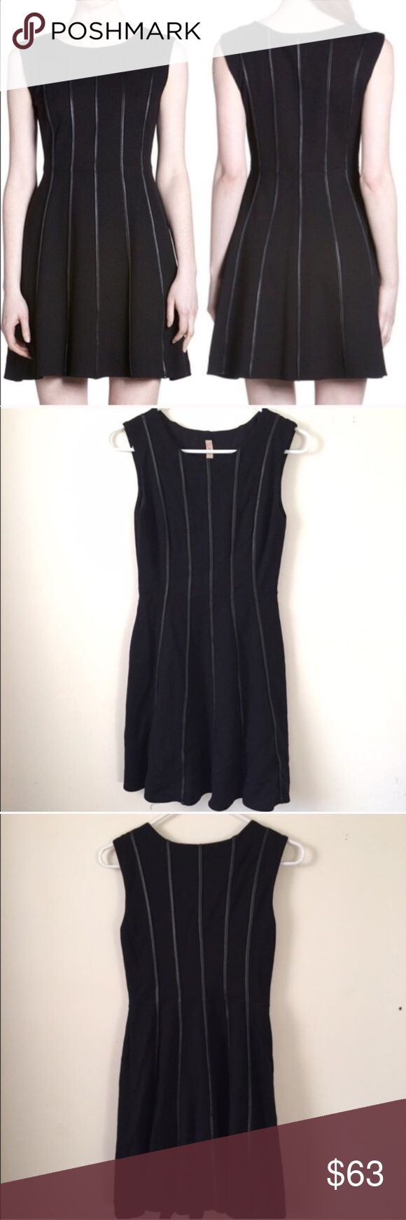Bailey 44 Deep Web Black Dress XS The Bailey 44 Deep Web Leather Piping Dress is a little black dress with attitude! This sleeveless dress features a fit and flare silhouette. Lined. Fabric: 61% rayon, 35% nylon, 4% spandex. Excellent condition! Bailey 44 Dresses Mini