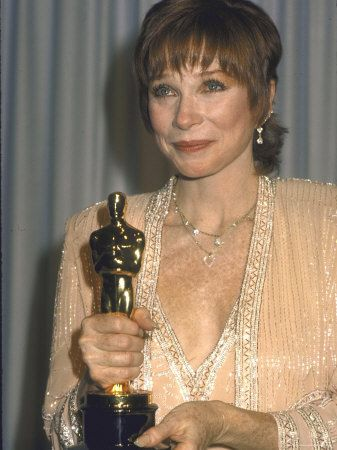 Shirley MacLaine Holding Her Oscar in Press Room at Academy Awards   Terms of Endearment, 1983