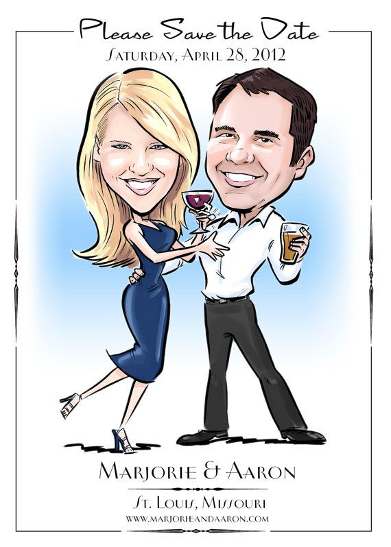Custom made caricature portrait wedding  save the date.