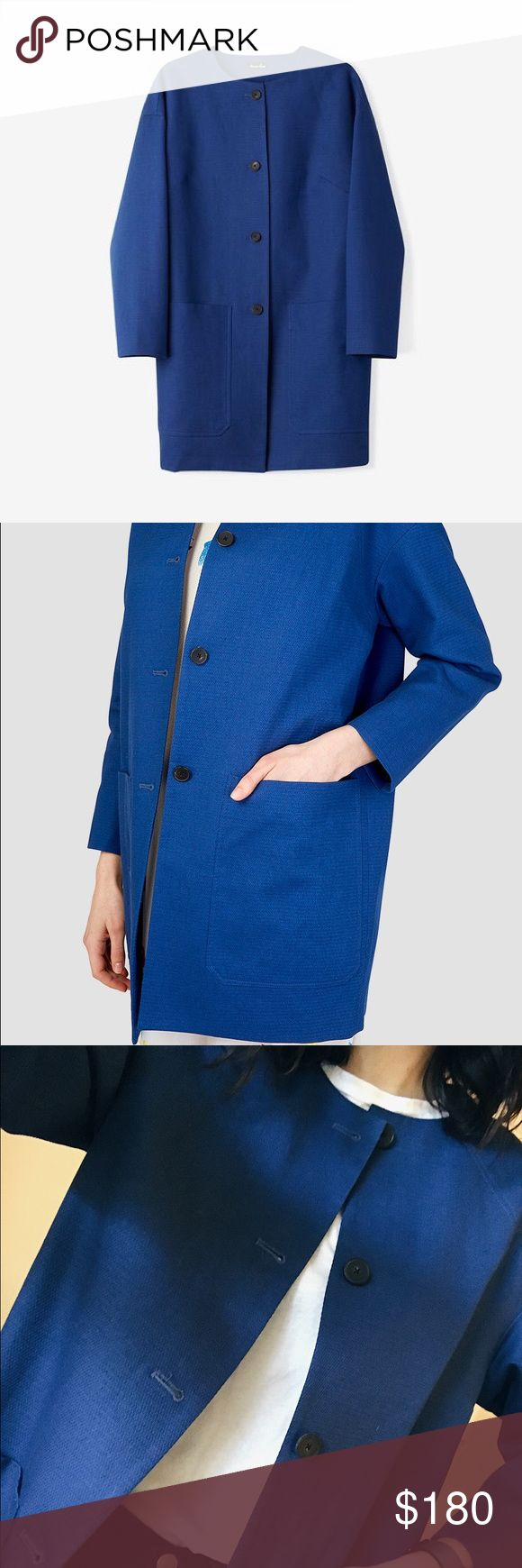 Steven Alan factory Jacket Steven Alan factory jacket in NEW condition. Brand new without tags!! Light duster coat with front four button closure, deep pockets, 3/4 length sleeves. Lightweight and fits structured. Love the color and reminds me of Bill Cunningham 💙💙💙 Steven Alan Jackets & Coats