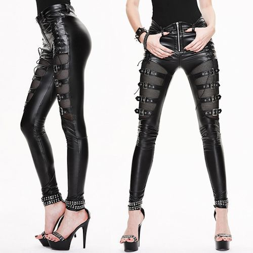 Black Slim Fit Steam Punk Rock Gothic Fashion Pants Trousers Women SKU-11404049