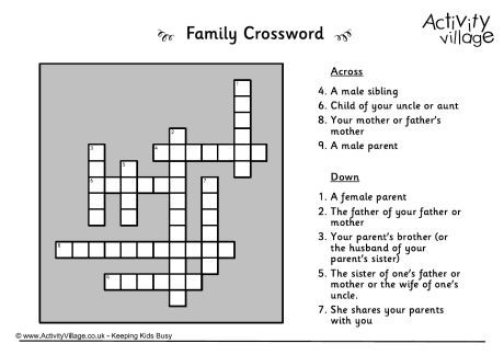 12 best crossword puzzles images on pinterest crossword puzzles family relations can be confusing and to be honest trying to describe them for a crossword clue can be confusing too see if the kids can puzzle out the ccuart Choice Image