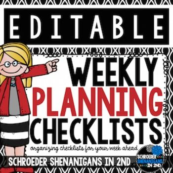 Weekly Planning Checklist - Editable! These check lists are completely EDITABLE as a ppt, so you can personalize a checklist to suit your weekly planning needs!