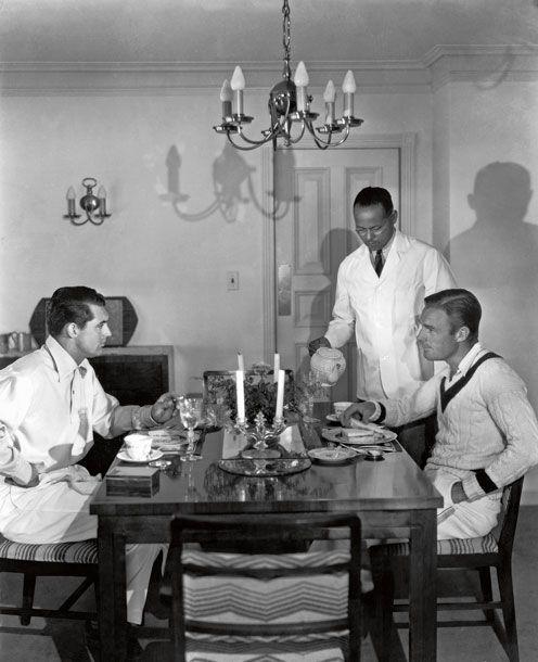 Cary Grant and Randolph Scott at their Malibu house, 1935.