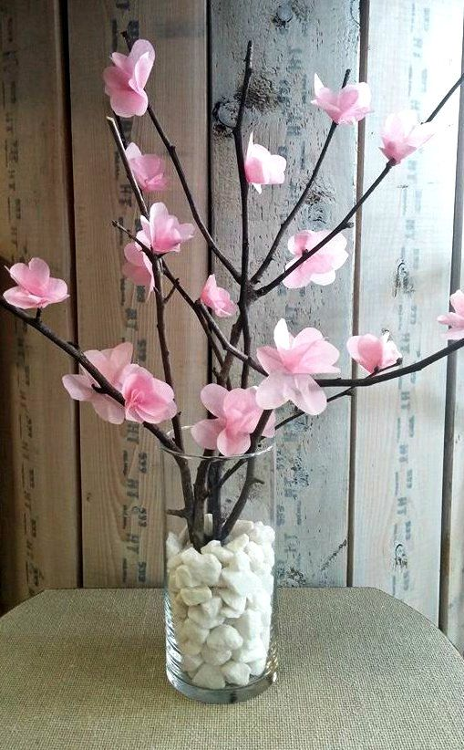 Tissue Paper Japanese Blossom Tree by SimplyCraftedFlorals on Etsy
