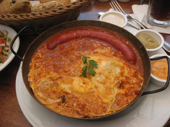 Sausage shakshuka breakfast via #DeliciousIsrael